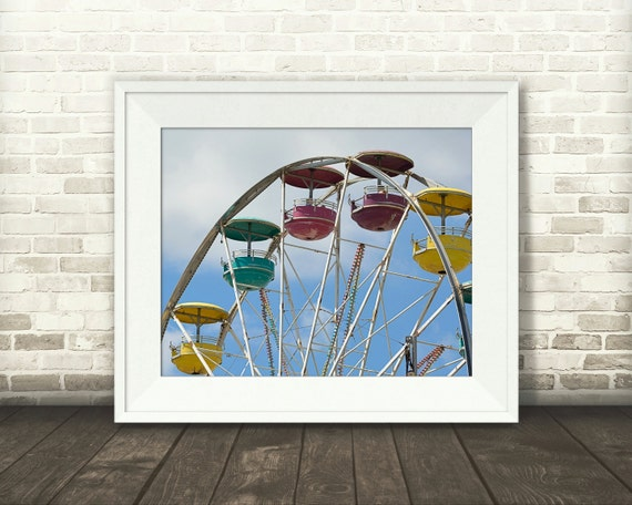 Ferris Wheel Photograph - Carnival Photo - Fine Art Print - Home Wall Decor - Color Pictures - Children's Decor - Summer Fun Wall Art - Gift