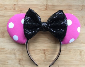 Classic Mouse Ears, Classic Minnie Inspired Ears, Classic Pink Minnie Ears, polka dot ears, Classic Minnie Ears, Pink Polka Dot Ears