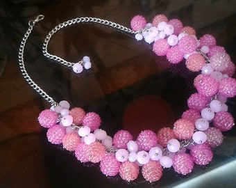 Pink necklace, beaded necklace, pink jewelry