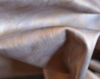 Italian NATURAL Leather Gold Leather 80 cm x 50 cm 1 mm Golden Leather Quality Leather Metallic Gold ,beige b786