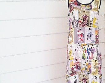 Women's Dress Tunic Dress Shift Dress Made to Order Australian Made  Printed Cotton Japanese Print Plus Size Dress Maxi Dress Pocket Dress