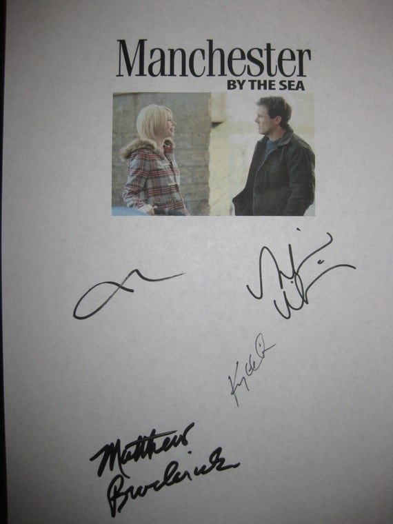 Manchester by the Sea Signed Film Movie Screenplay Script Autograph Casey Affleck Michelle Williams Kyle Chandler Matthew Broderick reprint