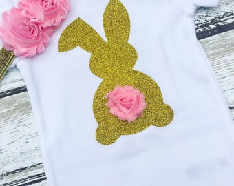 Easter Onesie, Baby Easter Shirt, Gold Bunny Shirt with flower tail, First Easter Shirt, Easter Baby Outfit, Gold Glitter Easter Shirt