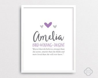 Amelia - Baby name meaning - Personalized baby gift - Custom baby name art - Girl name wall art - Printable - DIGITAL FILES