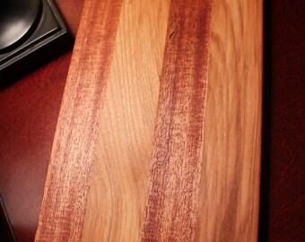 """14"""" x 7"""" Hardwood Mahagony & Hickory Cutting Board"""