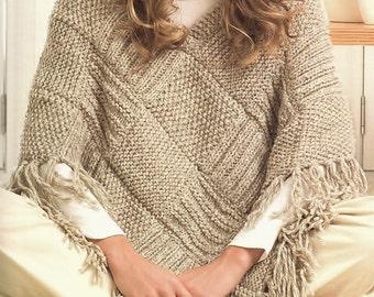 Ladies Poncho, Knitting Pattern. PDF Instant Download.