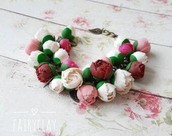 Peony bracelet, handmade bracelet, clay peony, handmade jewelry, handmade flowers, polymer clay flowers, polymer clay bracelet, clay jewelry