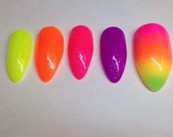 Rainbow nails | Custom made press on nails | Little Pretty Nails