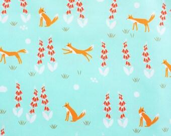 Fox Fabric, Cloud 9 Fabrics, Cotton Fabric, Foxglove, Woodland, Turqoise, Mint Green, Organic Cotton, Quilting, Dressmaking, Half Metre