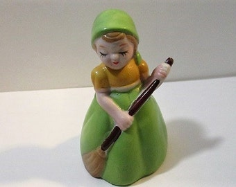On Sale, Vintage Ceramic Bell, Girl in Green Dress with Broom, Hand Painted, Kitschy Decor