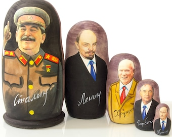 "Russian Nesting Doll - ""Russian Leaders""  - MEDIUM SIZE -Glossy - 5 dolls in 1 - Hand Painted in Russia - Matryoshka Babushka"