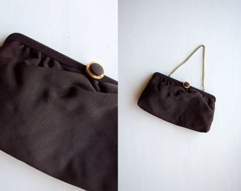 vintage chocolate brown purse | convertible clutch handbag | chain strap evening bag | vintage brown crepe wrist bag | brown dressy purse