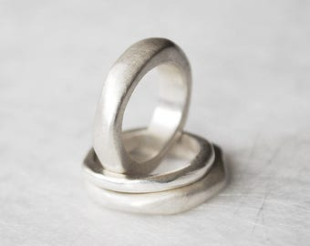 organic ring silver wide ring of voluptuous, partner ring, ring with history, silver ring organic form, wedding band for him and her