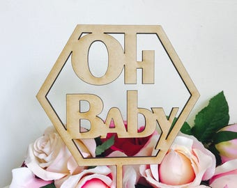 CLEARANCE! 1 ONLY Timber Oh Baby Polygon Cake Topper Cake Decoration Baby Shower Cake Topper Shower Cake Decoration Baby Shower Topper Oh Ba