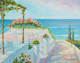 Seascape Ocean Painting Flowers Beach painting Nautical style Blue Sea Abstract Art Oil Painting Canvas Italian Ocean Landscape Wall Sea art