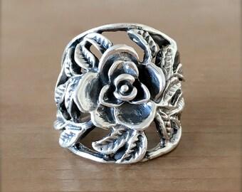 Silver Rose Ring, Silver Flower Ring, Sterling Silver Ring, Flower Ring, Rose Vine Ring, Gypsy Ring, Boho Silver Ring, Gardener Jewelry