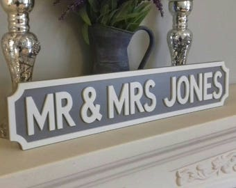 Personalised Street Sign. Vintage. Personalized. Mr & Mrs. Wedding gift. Family Sign. Anniversary.