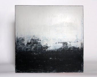 "Abstract art, acrylic painting, 100 x 100 cm title ""city vibe II"", black and white"
