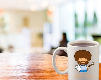 Bob Ross Hello Tree Coffee Cup 15 oz