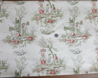2 yards vintage drapery fabric BRANDYWINE boys fishing