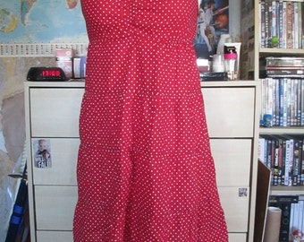 Vintage Women Teenager Dress Red Polka Dot Summer