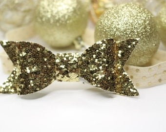 Gold Headband Bow//Sparkly Golden Bow