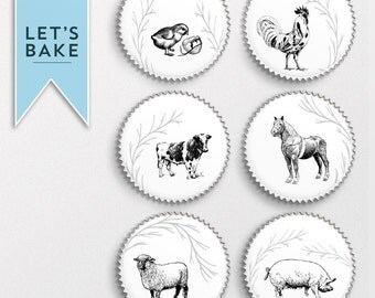 Farm animal,cupcake toppers,cake topper,cake decoration, edible,rice paper,animal cupcake topper,animal cake topper,cake cupcake,farm
