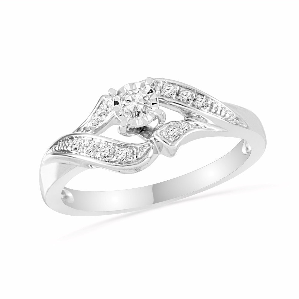 unique promise ring for women with diamond center stone and. Black Bedroom Furniture Sets. Home Design Ideas