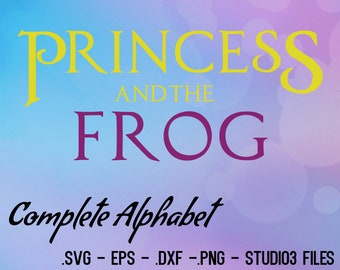 Princess and the Frog font Vector. Cutting FIles. .eps, .svg, .dxf, png and studio3 Files.