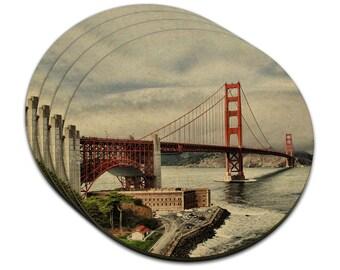 Golden Gate San Francisco Mdf Wood Coaster Set Of 4
