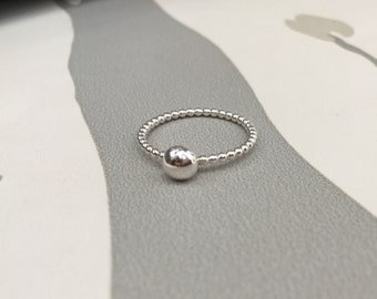 Beaded ball ring, bubble ring, bobble ring, stacking ring, stackable silver ring
