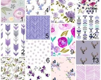 Purple baby bedding, magenta, pink, florals, crib bedding, crib sheet, crib bumpers, crib skirt, pick and choose, swaddles, flowers, pastel