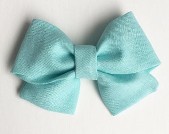 Infant, Baby, Toddler Girl Cotton Fabric Spring Hair Bow // Crossover // Aqua Blue