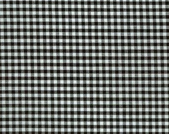 "Black Gingham, 1/8"" black and white checked fabric, Robert Kaufman Fabric, 100% cotton fabric"