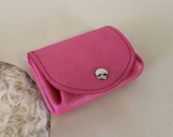 Pink coin purse. Pink change purse; Pink leather wallet. Pink leather purse