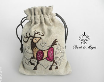 Embroidered rune bag with a celtic Deer. Runic divination. Irish Style. Celtic style. Spirituality. Pagan. Shamanism. Witchcraft. Totem