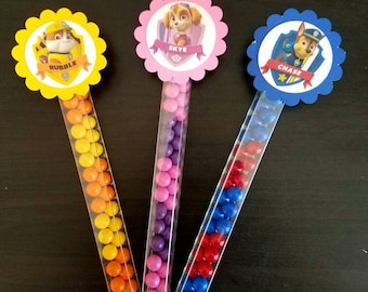 Paw patrol  candy wands birthday Goody Bags Party favors Birthday Paw patrol sixlets