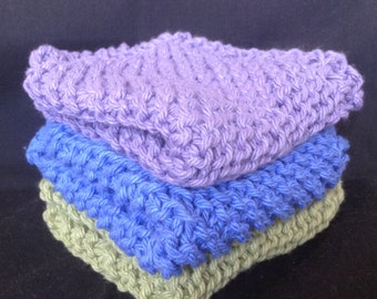 Knitted Dishcloths Set of 3 - Fruit Punch Solids