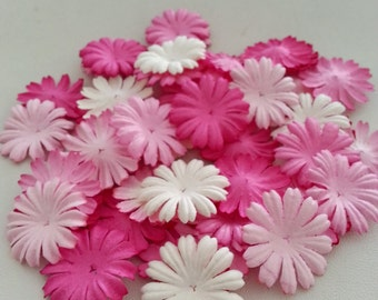 50, 100 pcs. DAISY die cut mulberry paper flower mixed pink and white color 2.5x2.5 cm.,scrapbook,card making,wedding decoration