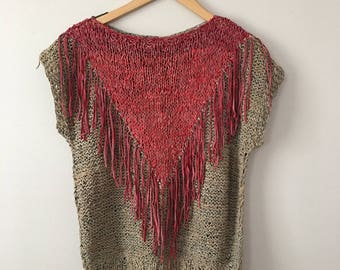 Tan & Res Woven Leather Fringe Top