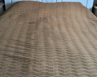 vintage chenille bedspread - brown bed coverlet - bedcover with fringe - double bed bedspread -  retro 50s bedcover - cotton - shabby shic