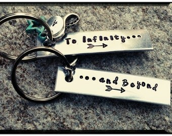 To Infinity and Beyond - Matching Keychains//Hand Stamped Aluminum//Add Initial//Charms - Couples Gift/Friend Gift - Toy Story/Keychain Set