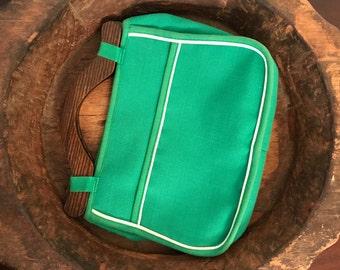 Vintage de Lanthe Green Canvas Handbag with Wooden Handles