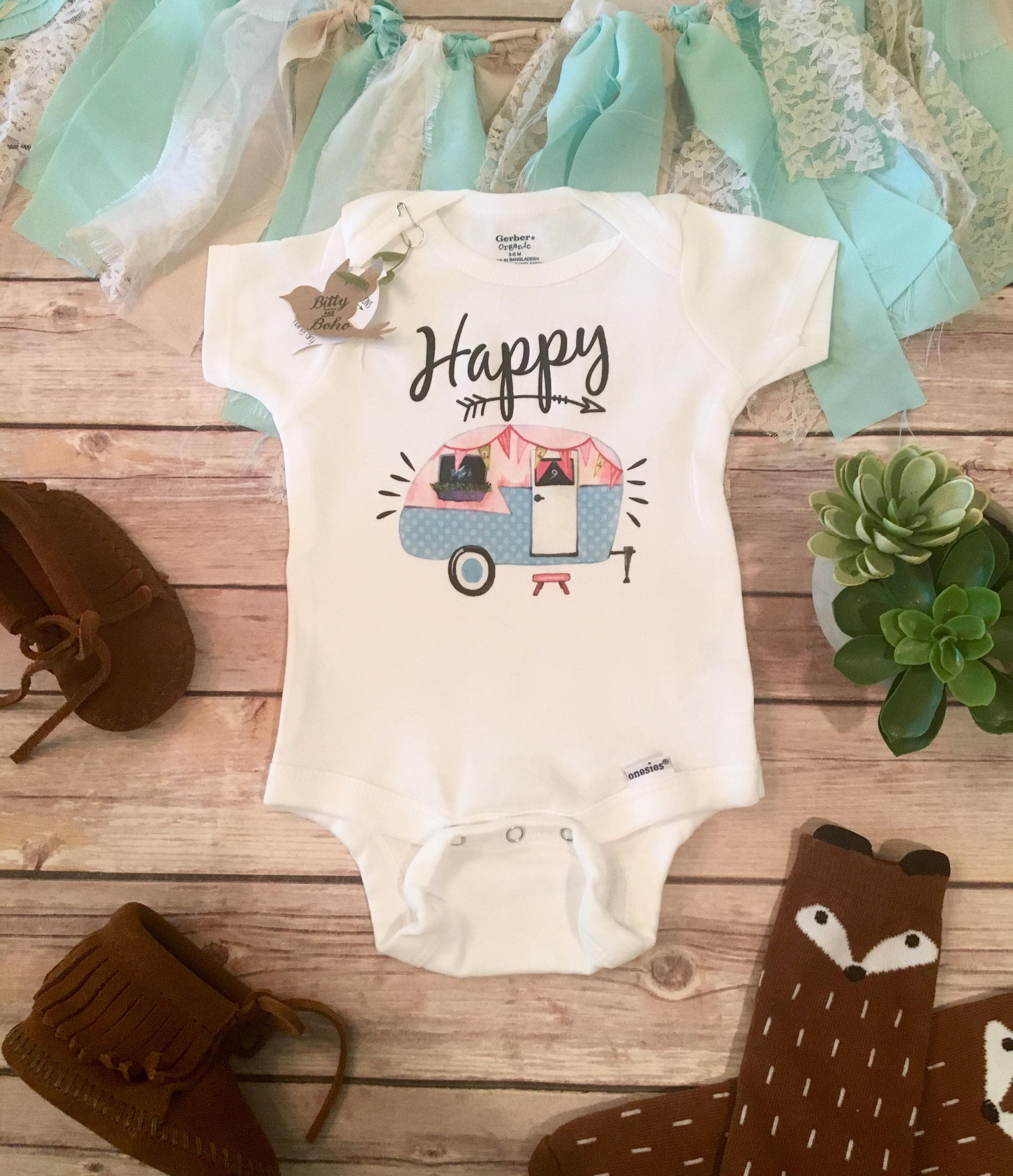 Phpmyadmin2016 - Hippie Baby Clothes Happy Camper Onesie Baby Girl Clothes Baby Shower Gift Boho Baby Clothes