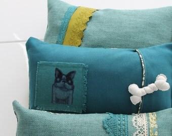 2 child covers / cushions Bohemia / Recto verso/El Perro / 1960s vintage floral fabrics / Bohemian / COUS150151