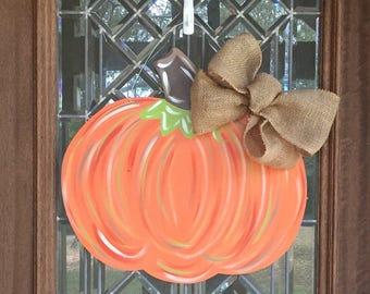Pumpkin door hanger Fall wreath Fall door sign Rustic painted pumpkin