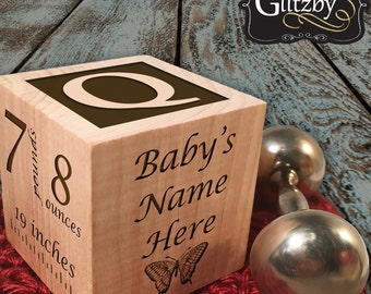 Personalized Wooden Baby Block Newborn Baptism Gift Custom Engraved