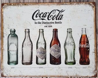 Coca Cola Vintage Style Metal Sign / Coca Cola Bottle Collectible / Retro Kitchen Bar / Nostalgic Shabby Chic Wall Art / Game Room
