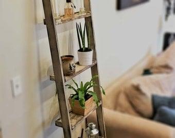 Distressed Wood Ladder Shelf (Wall Mounted)