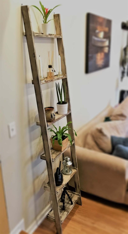 Distressed Wood Ladder Shelf Wall Mounted